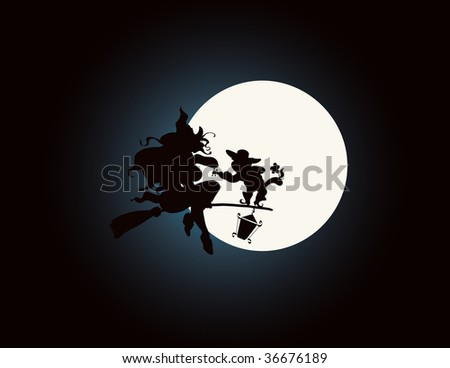 vector illustration,happy halloween serenade silhouette, cartoon concept