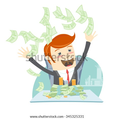 Vector illustration Happy office man hipster sitting at the table and throwing money - stock vector