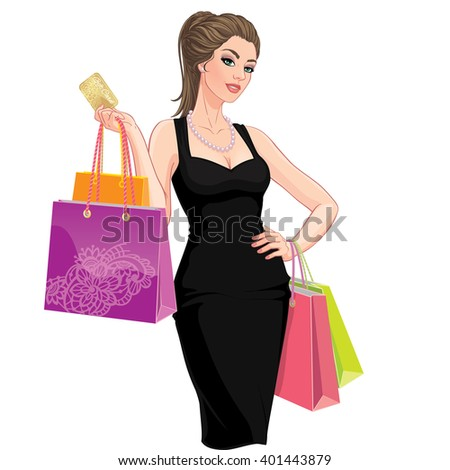 Vector Illustration. Happy young woman with shopping bags and discount card. Isolated on white background - stock vector
