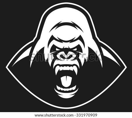 Vector illustration, head evil ferocious gorilla shouts, mascot - stock vector