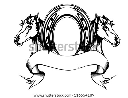Vector  illustration heads horses and horse shoe - stock vector