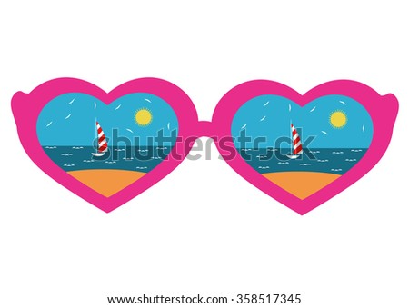 vector illustration, heart-shaped glasses with the reflection of the beach, the icon points in the style of a flat