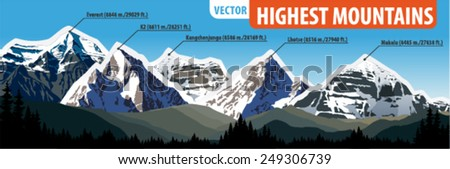 Vector illustration highest mountains of the World - stock vector