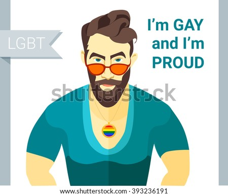 Vector illustration Hipster bearded man glasses. Flat style. Gay pride slogan. LGBT couple member