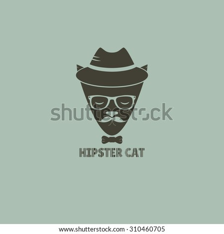 Vector illustration hipster cat. Silhouette hipster cat in a hat and sunglasses - stock vector