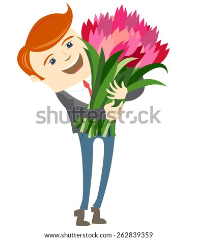 Vector illustration Hipster funny man holding holding flowers. Flat style - stock vector