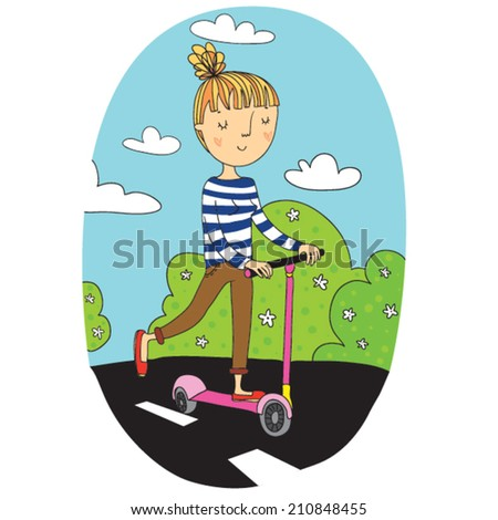 Vector Illustration Hipster Girl on The Scooter in The Sunny Day - stock vector