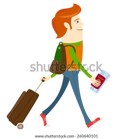 Vector illustration Hipster-traveler walking and holding passport, ticket and suitcase - stock vector