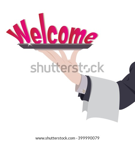 Vector illustration holding of welcome on tray - stock vector