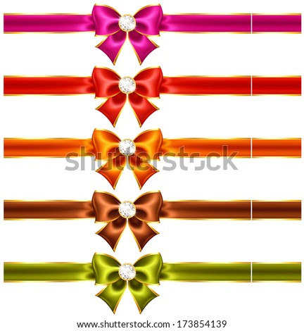 Vector illustration - holiday bows with diamonds and ribbons. Created with gradient mesh and blending modes. - stock vector