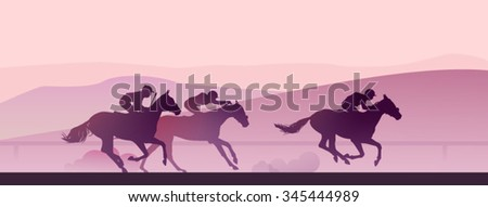 Vector illustration: horse race at early morning in mountains - stock vector