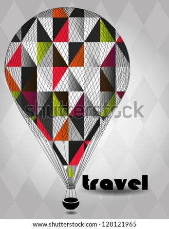 Vector illustration Hot air balloon - stock vector