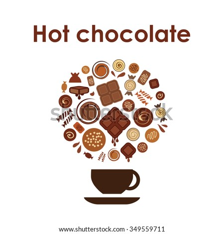 Vector Ilration Hot Chocolate Cup Circle Design