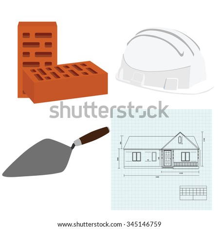 Vector illustration house plan, brick spatula, white building helmet and two brown bricks. House building