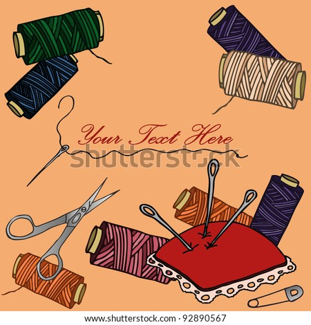 Vector illustration, how to sew card, banner concept. - stock vector