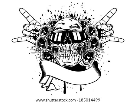 "Vector illustration human skull in sunglasses, gesture by hand ""rock"" and speakers"