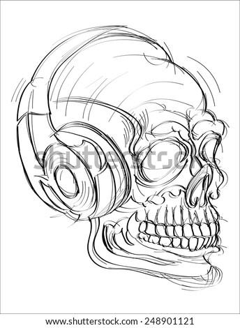 Vector illustration human skull with headphones - stock vector