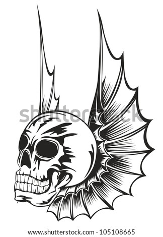 Vector illustration human skull with wings - stock vector