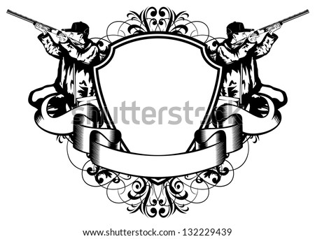 Vector illustration hunting frame with patterns - stock vector