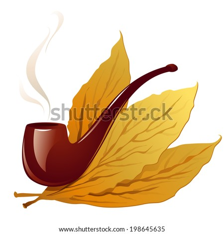 Vector Illustration Icon of Vintage pipe in closeup and isolated in white with three tobacco leaves - stock vector
