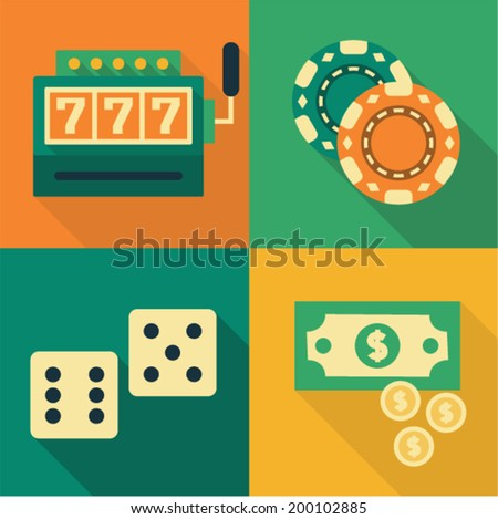 Vector illustration icon set of casino: slot machine, casino chips, dice, money - stock vector