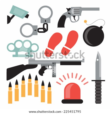 Vector illustration icon set of crime: handcuffs, camera, pistol, brass knuckles, bomb, automatic, knife, bullet, siren - stock vector