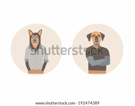 Vector illustration icon set of dog  - stock vector