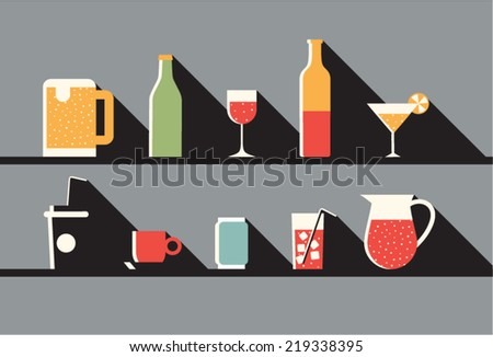 Vector illustration icon set of drink - stock vector