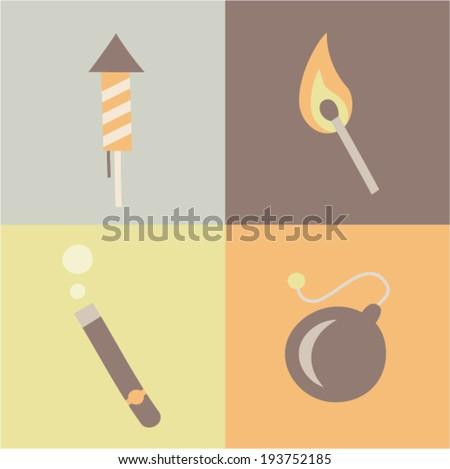 Vector illustration icon set of fire: rocket, match, cigar, bomb - stock vector