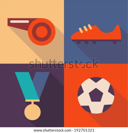 Vector illustration icon set of football: whistle, shoes, medal, ball - stock vector
