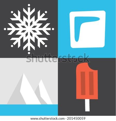 Vector illustration icon set of ice: winter snow, ice cube, iceberg, ice cream - stock vector