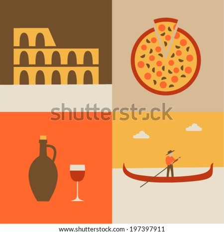 Vector illustration icon set of Italy: Coliseum, pizza, wine, gondolier - stock vector