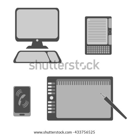 Vector illustration icon set of modern devices: computer, graphics tablet, e-book, mobile phone.