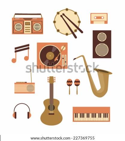 Vector illustration icon set of music: recorder, drum, audio cassette, note, turntable, loudspeaker, radio, guitar, maracas, trumpet, headphones, piano - stock vector