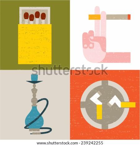 Vector illustration icon set of smoking: matches, cigarette, hookah, ashtray - stock vector