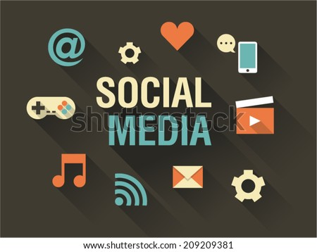 Vector illustration icon set of social media: e-mail, phone, game joystick, music, video, message - stock vector