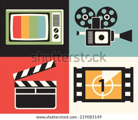 Vector illustration icon set of television: TV, camera, clapper, movie - stock vector