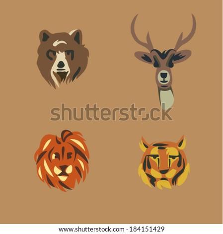 Vector illustration icon set of wild animals: bear, deer, lion, tiger - stock vector