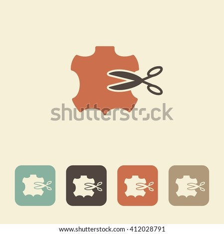 Vector illustration. Icon sewing leather. The symbol of needlework - stock vector