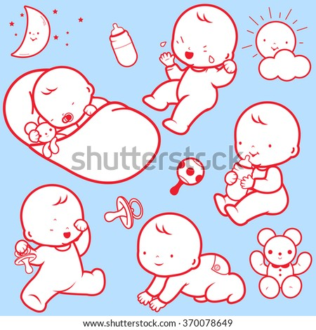 Vector Illustration icons of a baby's daily routine: sleeping, playing, crying, drinking milk, crawling. - stock vector