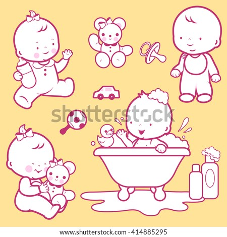 Vector Illustration icons of a baby's daily routine: taking a bath, playing, walking, drinking milk. - stock vector