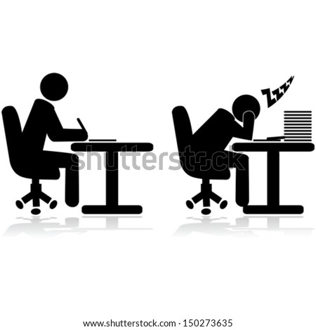 Vector illustration icons showing an office worker writing and another one tired and sleeping
