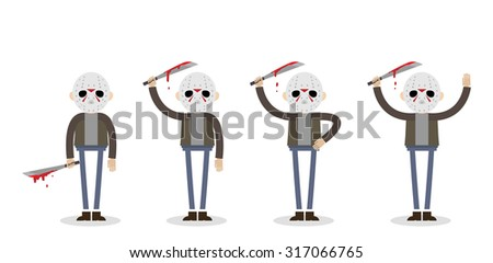 Vector illustration if the killer man from the Friday 13th. Man in jeans and jacket with machete standing in four different body positions. - stock vector