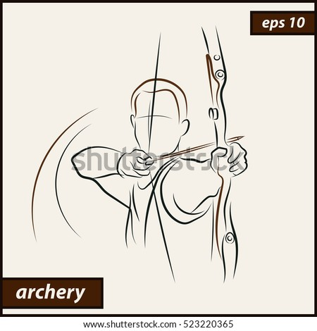Vector illustration. Illustration shows a archer aims at the target. Archery. Sport