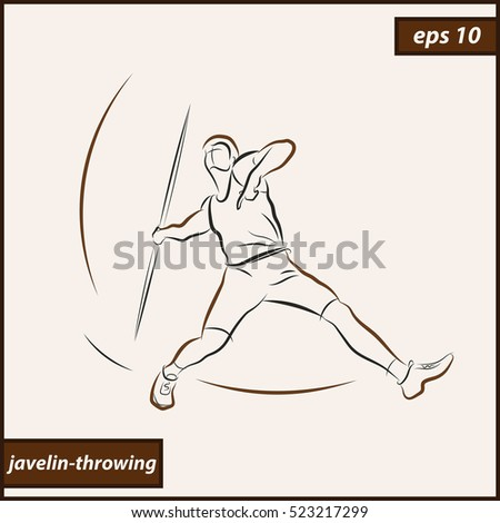 illustration shows a athlete throwing javelin sport javelin throwing