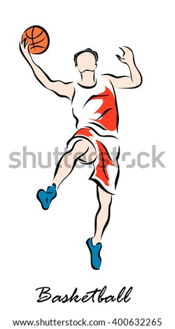 Vector illustration. Illustration shows a Basketball player jumping with the ball. Basketball - stock vector