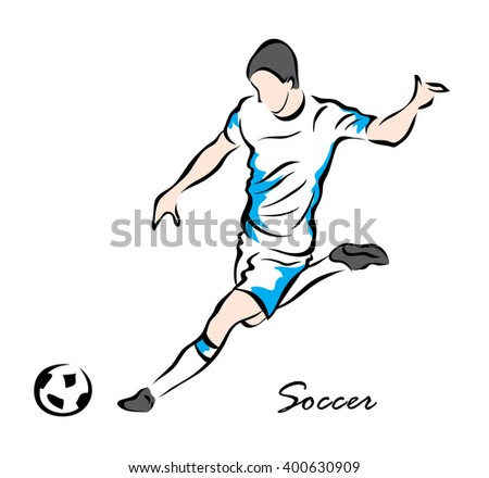 Vector illustration. Illustration shows a football player kicks the ball. Soccer