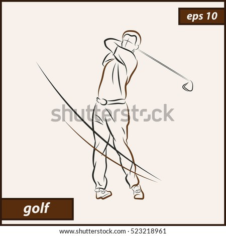 Vector illustration. Illustration shows a golfer hit the ball with the stick. Sport. Golf