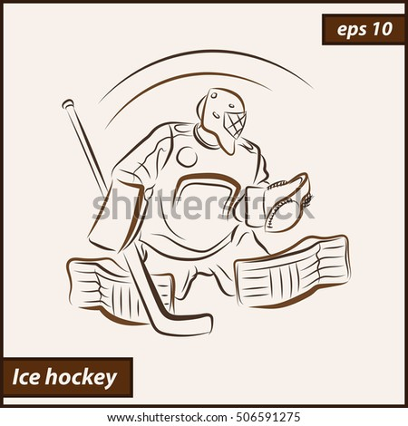 Vector illustration. Illustration shows a hockey goalkeeper in action. Ice Hockey