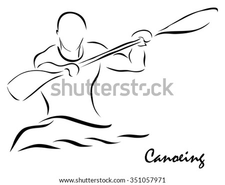 Vector illustration. Illustration shows a kind of sport. Canoeing
